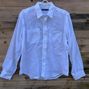 Vince | Mens White 100% Linen Button Down Medium
